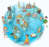 Globe. Image of globe with multiethnic kids and icons representing cultures and nations. Elements hand painted in watercolours/pastel Stock Image
