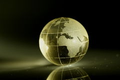 GLOBE. Glass globe with shadow and refection Royalty Free Stock Image