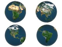 Globe. 3d rendered globe in different views with displace map Stock Photos