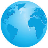 Globe. Transparent globe with an emphasis on the Atlantic Ocean. Vector illustration Royalty Free Stock Images