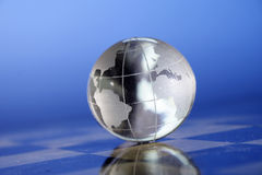 Globe. Shiny crystal globe showing the world Royalty Free Stock Photography