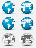 Globe. Solid and wired globes on white background Royalty Free Stock Photography
