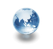 Globe. Blue glass globe on white background royalty free stock image