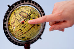 Globe. Finer showing compass rose royalty free stock photography