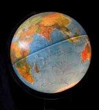 Globe. Blue Earth Globe on a Black background stock photography