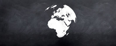 Globe 3d on Blackboard. A 3d version of the globe sketched on a blackboard Royalty Free Stock Image