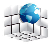 Globe and 3d cube Royalty Free Stock Images