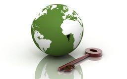 globe 3d et clé Images libres de droits