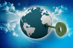 globe 3d et clé Photographie stock