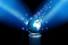 globe 3d et symbole d'affaires Photo stock