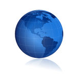 Globe 3d lustré bleu Photos libres de droits