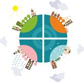 Globe during 4 seasons in vector Stock Images
