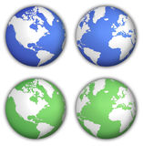 Globe. Two different views of globe in two color variants Royalty Free Illustration