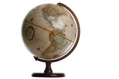 Globe. With wooden stand isolated against white Stock Photo
