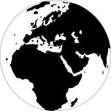 Globe. Turned the Europa. Black and white vector illustration Royalty Free Stock Photos