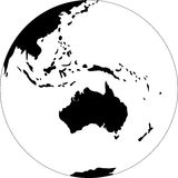 Globe. Turned the Australia. Black and white vector illustration