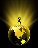 Globe. Joyful man standing on the Globe with rays - illustration Royalty Free Stock Photo