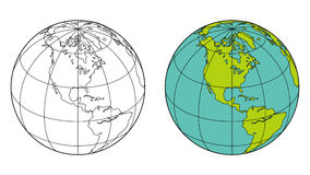Globe. Earth with longitude and latitude lines, provided in colour and outline Stock Photos