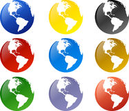 Globe. Icons in various color Stock Photos