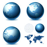 Globe. Vector Globe and Map of the World Royalty Free Stock Photo