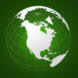 Globe. White globe on green background Stock Photography