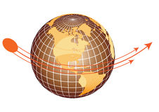 Globe. Arrow  equator navigate sphere Stock Photo