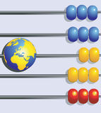 Globe  in abacus. Globe in a row  in abacus Stock Photo