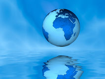 Globe Above Water, Eastern Hemisphere. A computer-generated image of a globe floating above water.  Earth generated from NASA image: http://visibleearth.nasa.gov Stock Photography