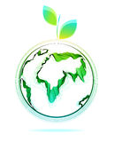 Globe abstract icon with green leaf Royalty Free Stock Photos