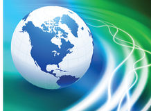Globe on Abstract Liquid Wave Background Royalty Free Stock Photo
