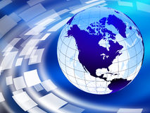 Globe on Abstract Liquid Wave Background Royalty Free Stock Images