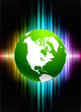 Globe on Abstract Spectrum Background Stock Images