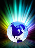 Globe on Abstract Spectrum Background Royalty Free Stock Photo