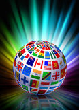Globe on Abstract Spectrum Background Stock Image