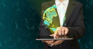 Globe abstrait avec les particules et la structure de plexus Planète de technologie numérique avec la formation continente triang banque de vidéos