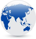 Globe abstrait bleu et blanc Images stock