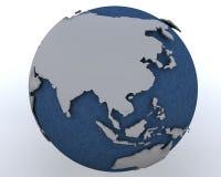Globe affichant la région de l'Asie de l'Est Images libres de droits