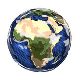 Globe Africa continent. Globe outline drawing. Africa continent. Vector illustration  of sketchy  on white background Royalty Free Stock Photography