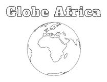 Globe Africa view. Hand-drawn globe of the world view over the Africa isolated on white Stock Image