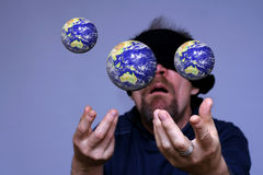 Globe in the air. Blind man in the complex world Stock Photos