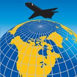 Globe and airplane Stock Photography