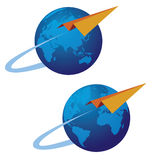 Globe and airplane. Illustration of the stylized airplane and Earth Stock Photography