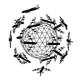 Globe with airplane. Stock Image