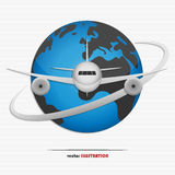 Globe and airplane. Vector illustration of the globe and airplane for your design Royalty Free Stock Images
