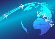 Globe and Airplanes. Abstract Background - Illustration of Globe and Flying Airplanes - vector Royalty Free Stock Images
