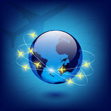 Globe with airplanes Stock Images