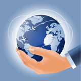 Globe with airplanes in businessman's hand Royalty Free Stock Photos