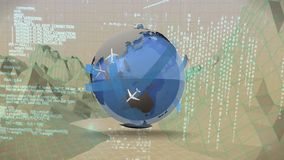 Globe with airplanes while moving through landscape graphs vector illustration