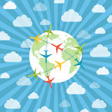 Globe with airplanes stock illustration