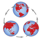 Globe all continents Stock Photo